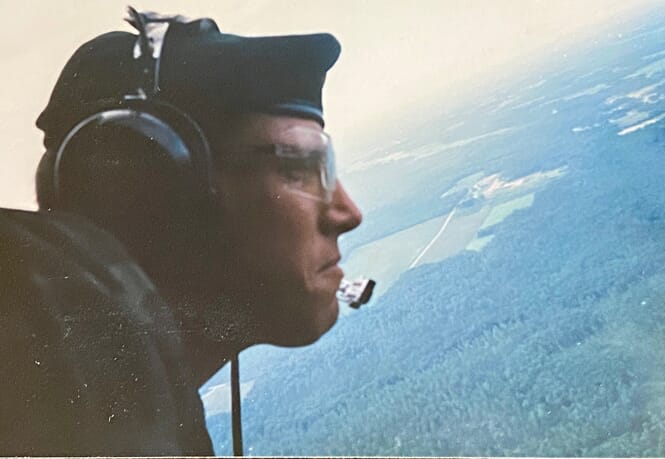 Marcus J . Michles II in Army helicopter